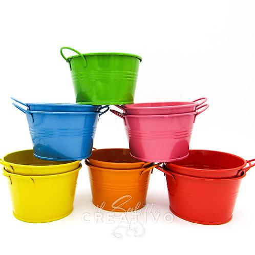 Vasetto metallo color diam. cm 15x alt. cm 8