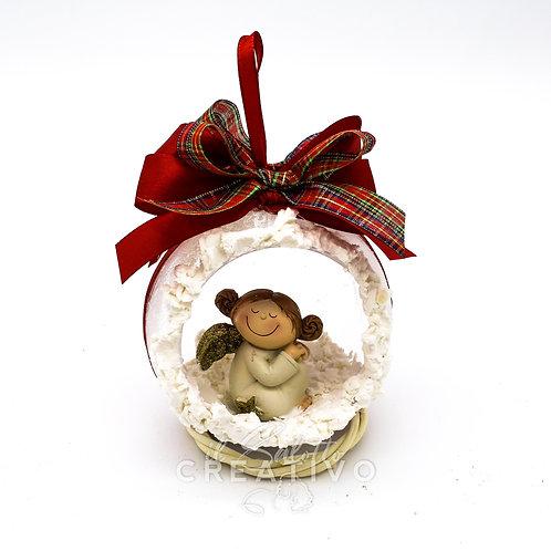 Sfera in vetro con angelo diametro 12 cm