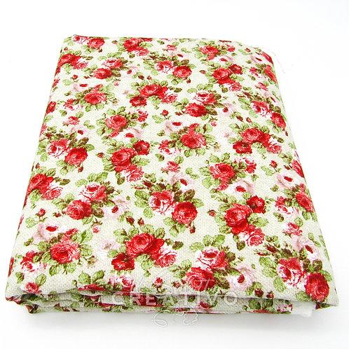 Tessuto misto cotone con stampa floreale