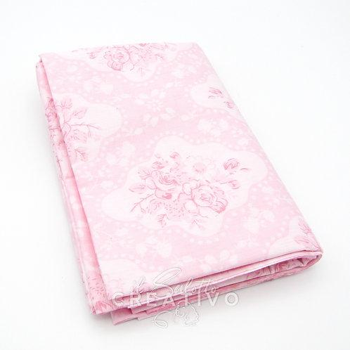 Tessuto 100% Twill di cotone rosa con stampa floreale
