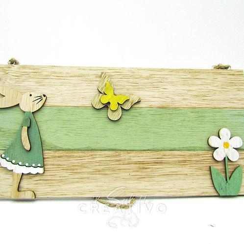 Quadretto  rabbit and flower cm 13x26