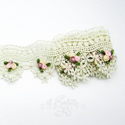 Pizzo punta Fiore 3D Roselline Stra alt. 8.5 cm - by Il Salotto Creativo