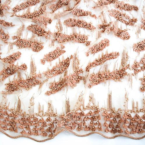 Tessuto Pizzo Ricamo Perline e Fiori 3D h 125 cm - by Il Salotto Creativo