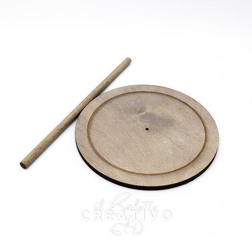 Base cerchiocon asta di supporto in legno - by I Nastri di Mirta