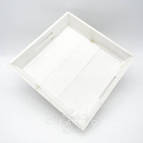 Vassoio bianco slavato cm 28x26x4.5