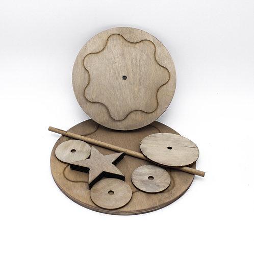 Base cerchiocondischi ed asta di supporto in legno - by I Nastri