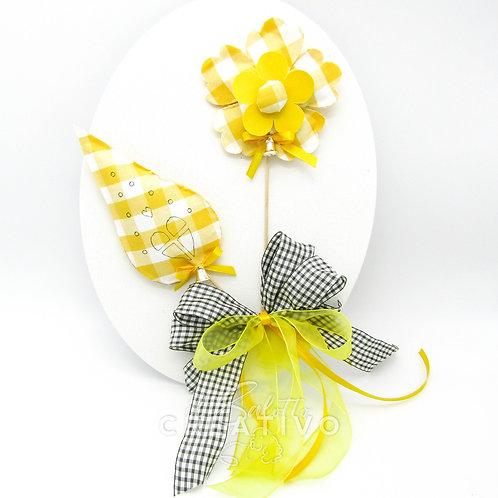 Kit Ovale Scaccomatto con fiore e casina - by Il Salotto Creativo