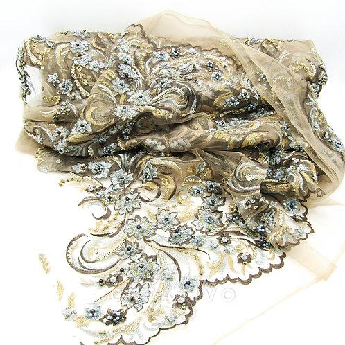 Tessuto Pizzo Ricamo Perline e Cristalli h 135 cm - by Il Salotto Creat