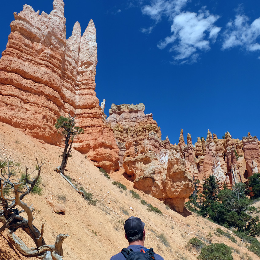 Person looking up at orange-white shaded rock spires