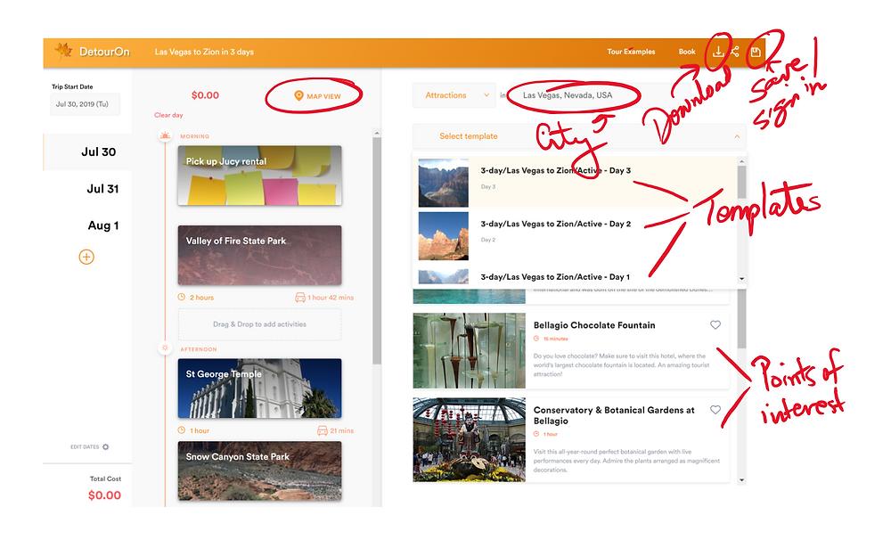 DetourOn interactive travel planning tool