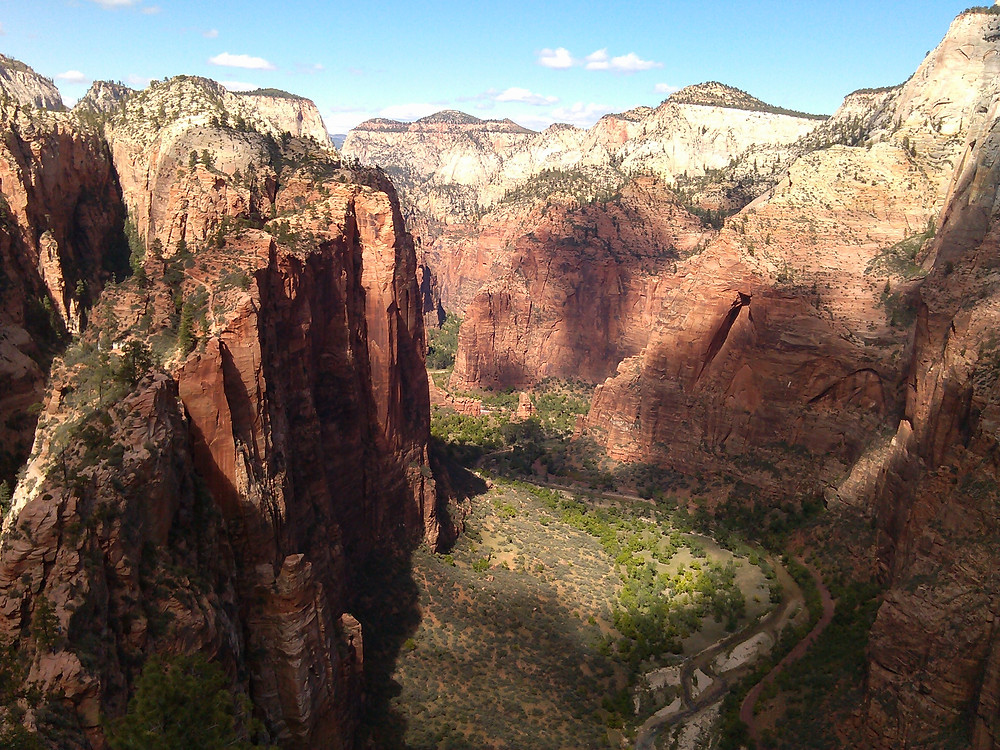 narrowing canyon surrounded by sheer walls