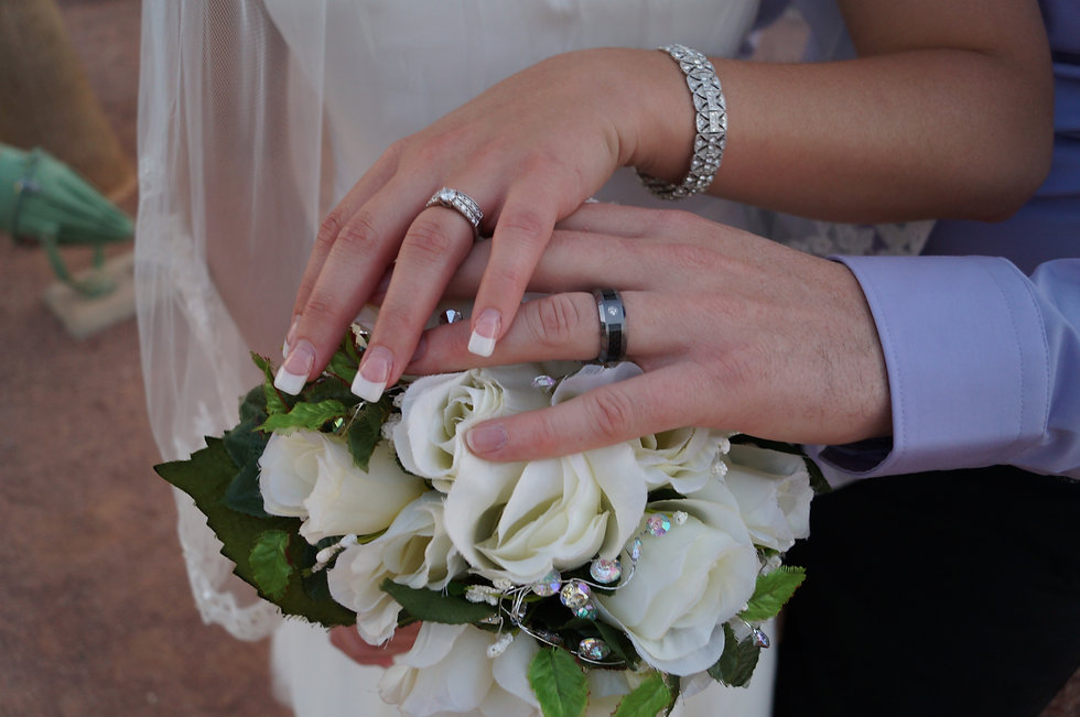 Wedding rings on bouquet.JPG