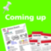 Navigation button, 'Coming up' page of Manchester People First website, meetings and events