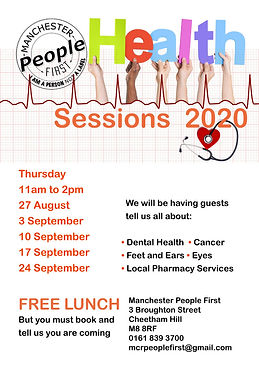 Poster for Manchester People First's Health Workshops 2020