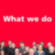 Navigation button, 'What we do' page of Manchester People First website, our aims, our work with others