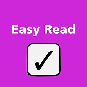 Navigation button, 'Easy read' page of Manchester People First website, our service to make information more accessible to people