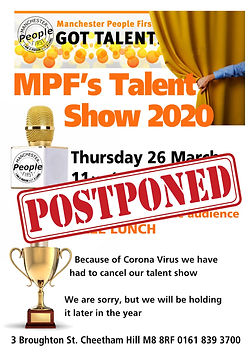 Manchester People First 2020 Talent Show Cancelled poster