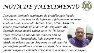 Nota de Pesar: Ir. Fernando Antônio Lima