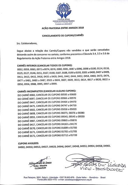 Carnês e Cupons cancelados da Ação Entre Amigos da Casa de Apoio Filhos de Hiram. Não concorrerão ao