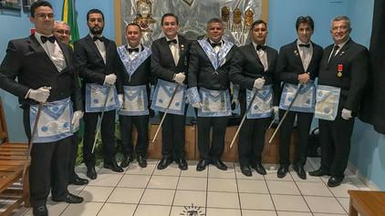Lojas Triunfo de Candeias 31 e São João 33, exaltam a Mestre 5 Irmãos neste ultimo sábado.