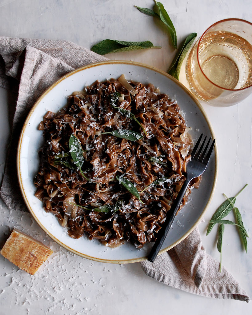 Black Garlic Pasta with a Simple Shallot Sauce