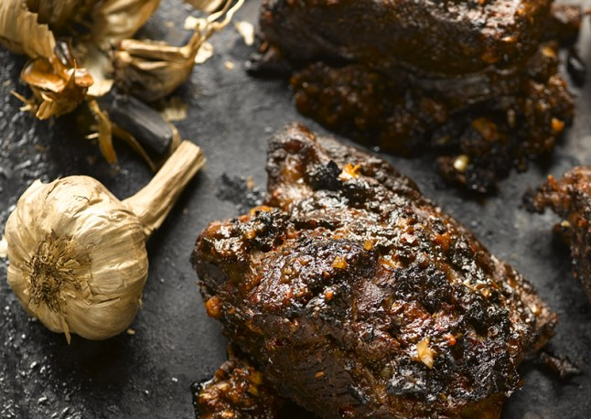 Barbecue Beef Short Ribs with Black Garlic