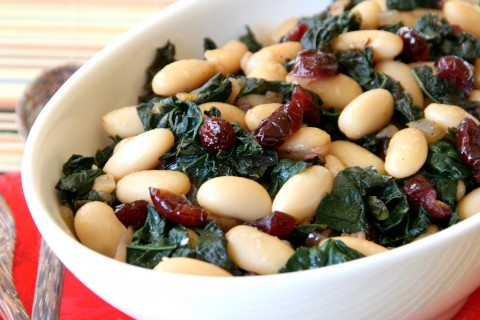 Beans and Greens with Shallots, Black Ga