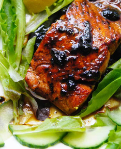 Salmon With Black Garlic Glaze