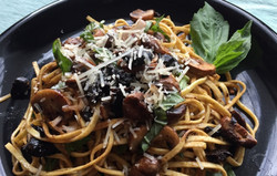 Linguine with Mushrooms and Black Garlic