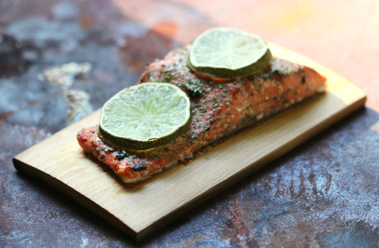 Black Garlic & Lime Cedar Plank Salmon