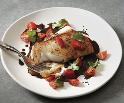 Seared Cod with Black Garlic Sauce