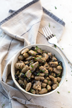 Black Garlic Gnocchi with Butter Sauce
