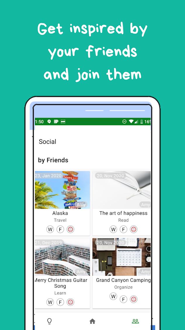 friends, social, wantshes tab screenshot on the app