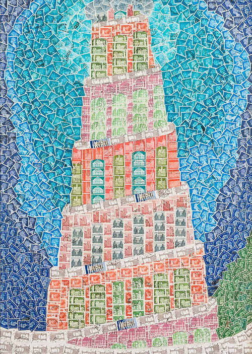 Tower of Babel Bábel tornya Judit Szendrei stamp artist