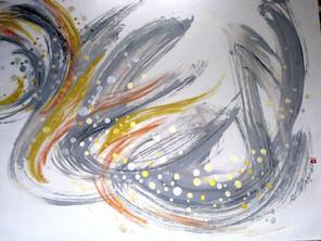 Grey Swirl, Orange Accent