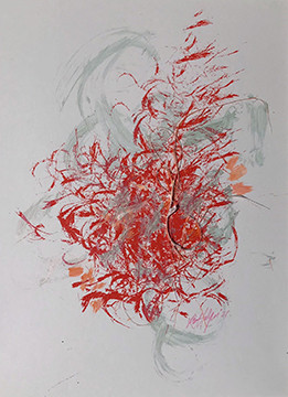 Red and Cream Splat
