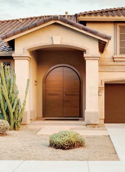 Oval Double Door covered with teak wood