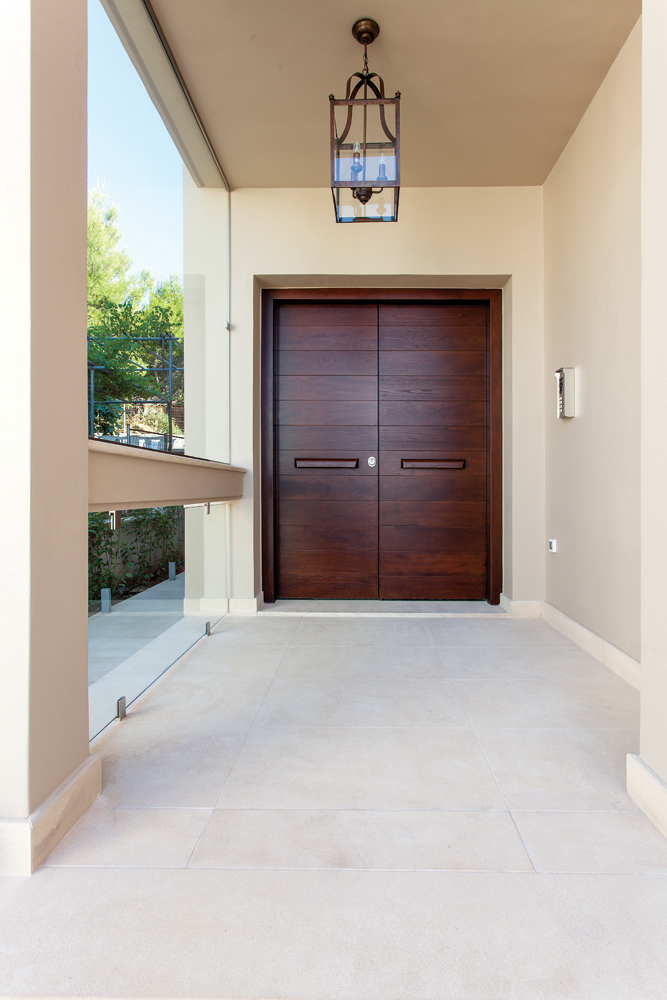 Double door covered with teak wood