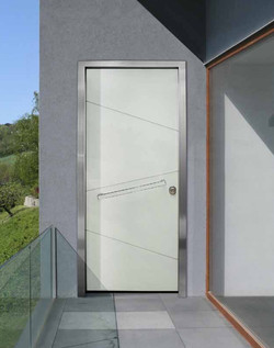 Hinge Door covered with asymmetric insets of glass