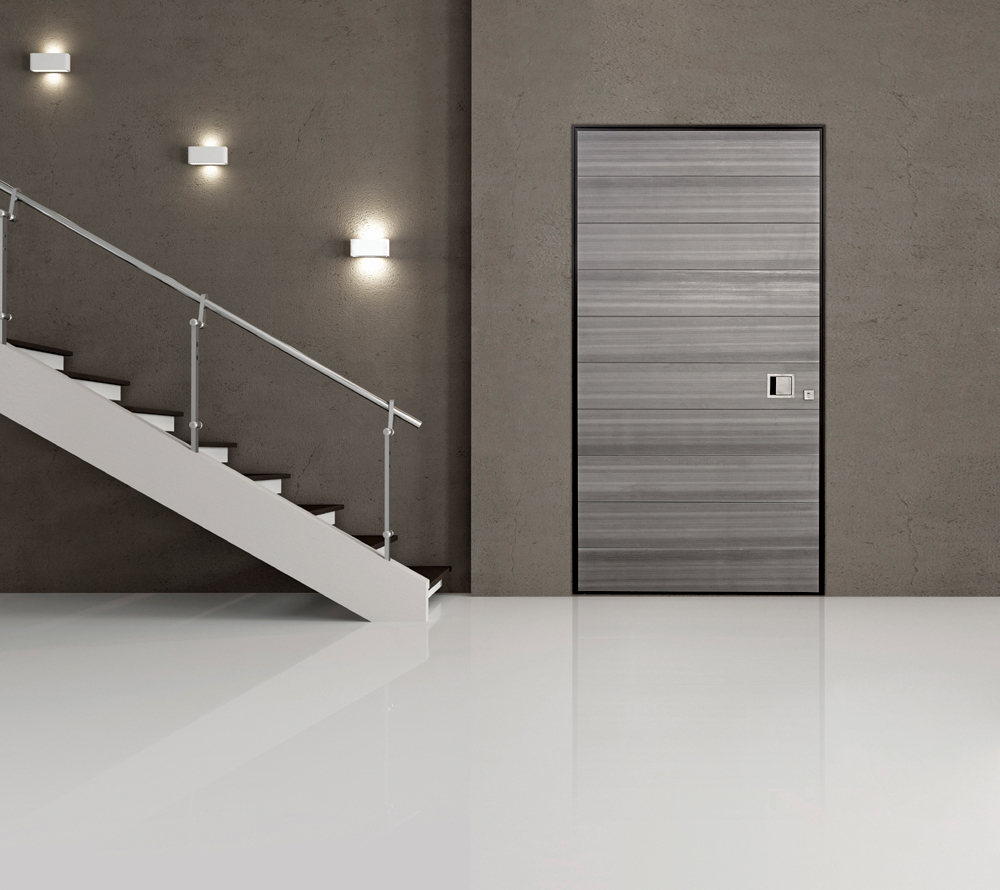 Pivot Door covered with anodized aluminum insets