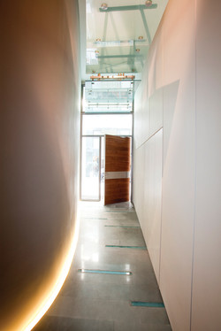 Pivot Door covered with iroko wood and steady side parts made of glass..