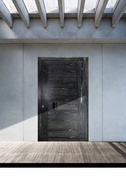 Pivot Door covered with solid oak wood painted in patina and wooden handle