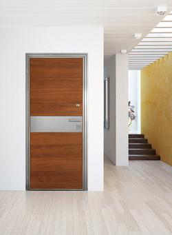 Hidden Hinge door covered with teak wood