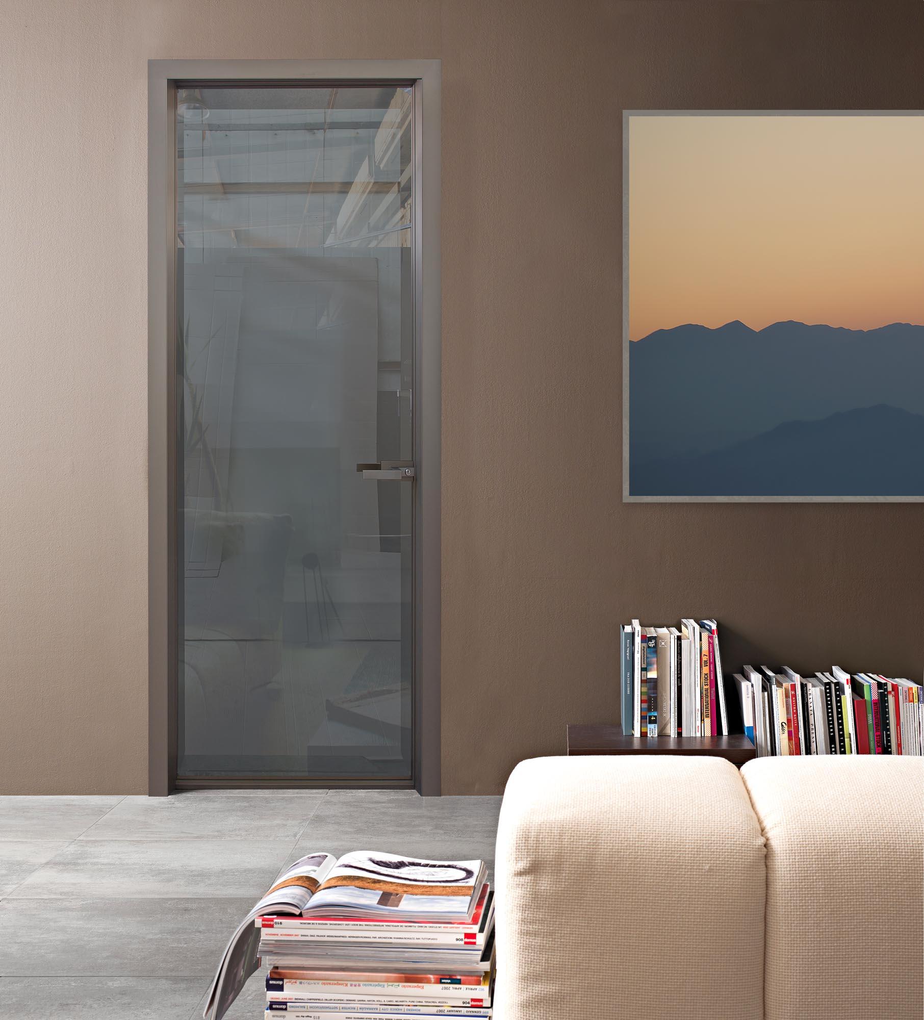 INTERNAL DOOR MINIMAL WITH ALUMINUM FRAME & BRONZE-MIRROR GLASS
