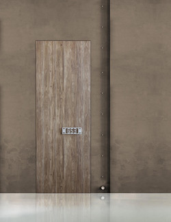 Hotel Door Light with hidden hinges, covered with Cleaf material
