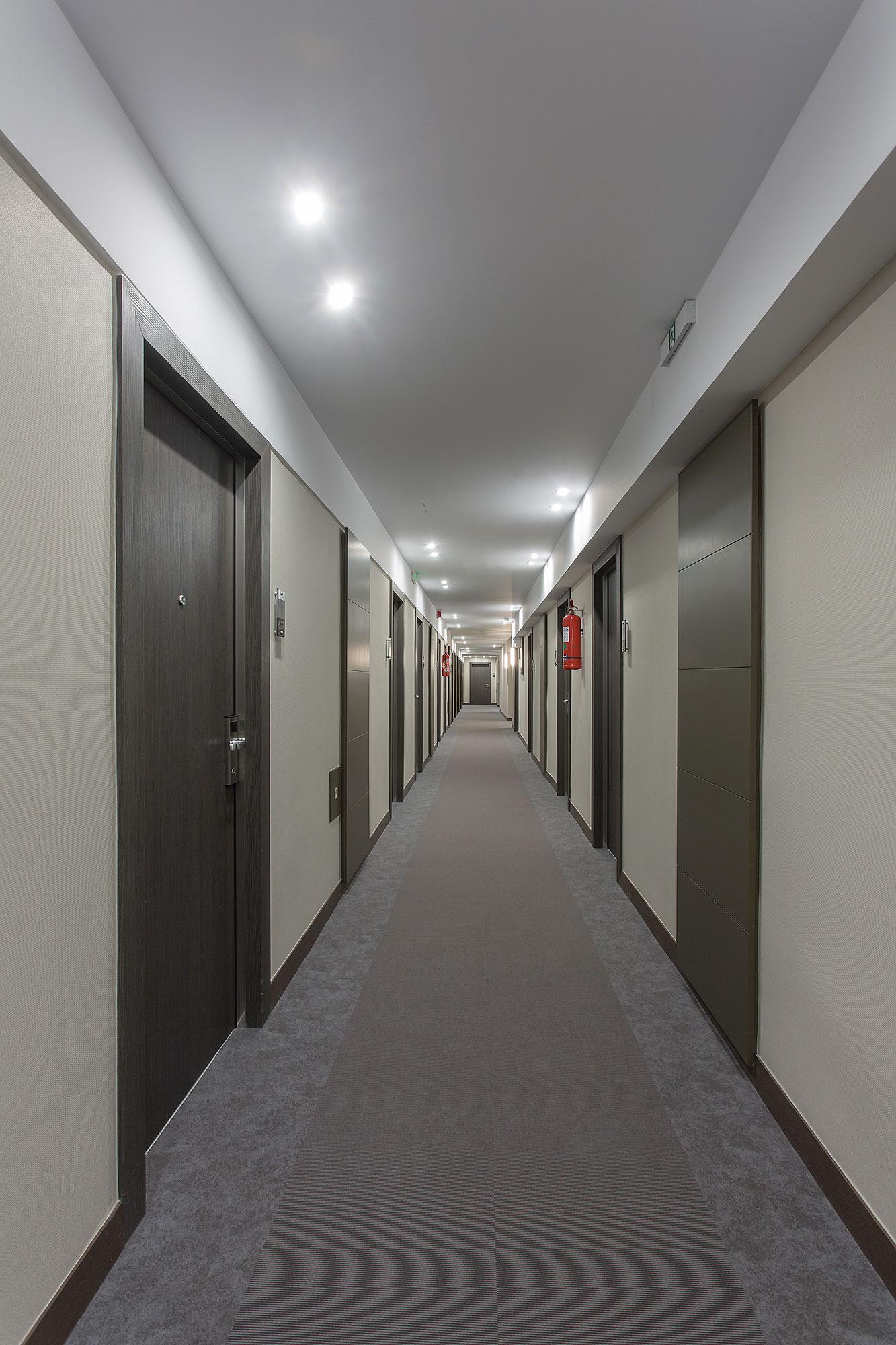 Hotel Door Light With Hidden Hinges, Covered With Wood Grain,