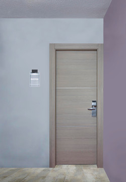Hotel Door Light with hidden hinges, covered with laminate