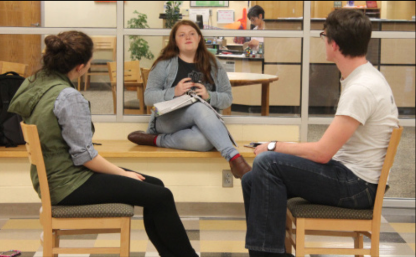 "SOAPS thespians come together to act in the play ""The Pattern"". Seniors Olivia Johnson and Andrew Hurley, are directed by Junior Kaylin Story. Photo credit by Taylor Fenton"