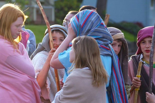 Goldendale kids in character, Last Days of Jesus, The Dalles, Oregon
