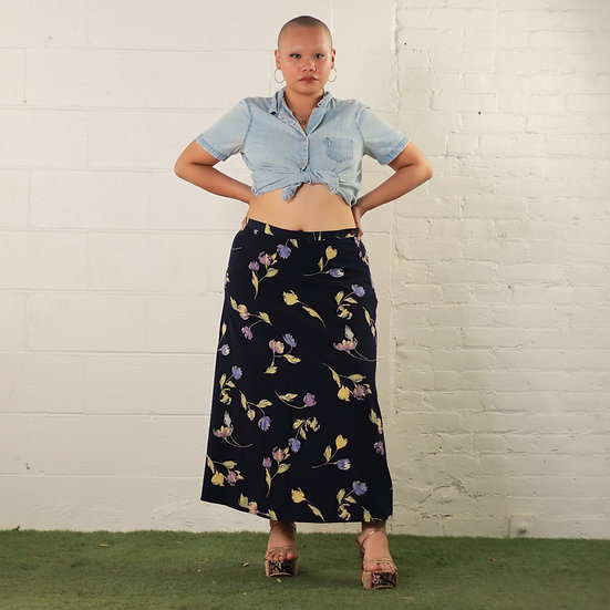 Floral Navy Skirt